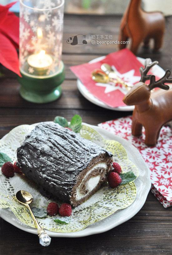 聖誕樹檊蛋糕【可可栗子口味 / 低脂】Choco Chestnut Yule Log