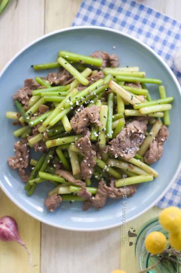 蠔油蒜芯炒牛肉【鮮嫩爽口】Fried Garlic Shoot with Beef
