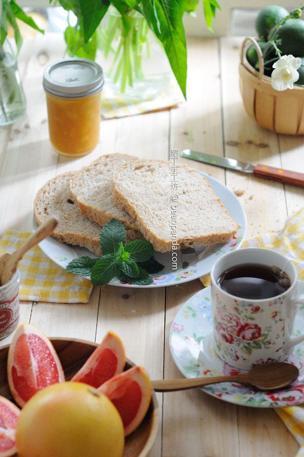 全麥楓糖麵包【麵包機食譜 / 無脂肪】Wheat Maple Syrup Bread