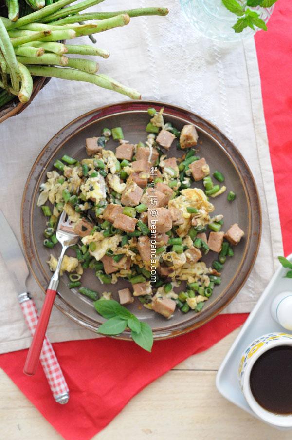 豆角午餐肉炒蛋【夏日家常菜】Fried Long Bean with Luncheon Meat