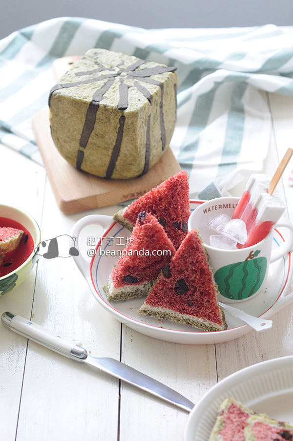西瓜吐司【湯種60分鐘免揉/無蛋奶人造色素】No Knead Watermelon Bread