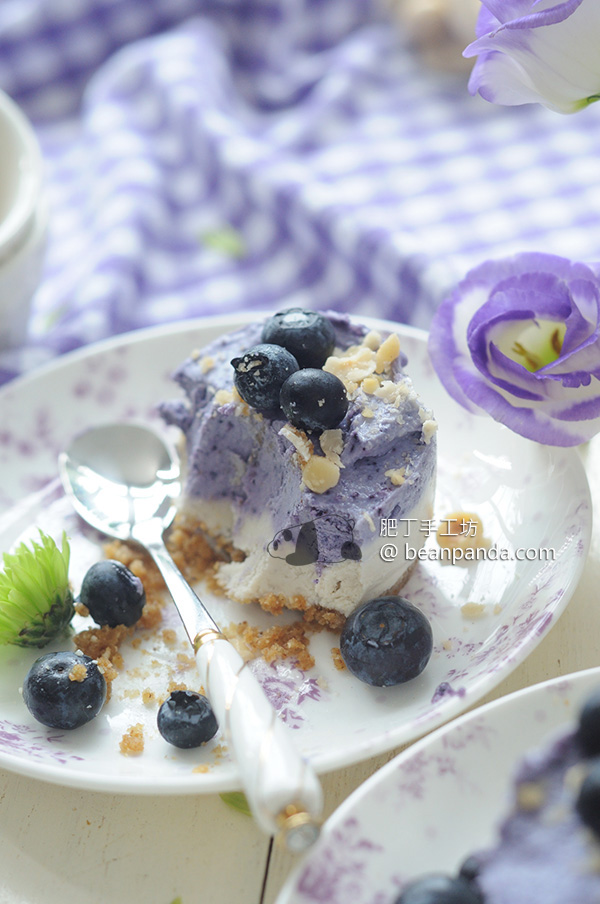 藍莓芝士(起司)蛋糕【免烤/素食可】Vegan Blueberry Cheesecake Recipe